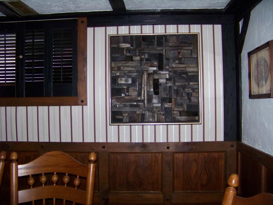 wood art, recycled wood art, acoustic panel, acoustic treatment, wooden blocks panel