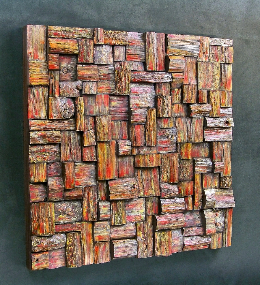 wood wall art, art acoustic panel, contemporary wood art, art collecting, recycled wood art, wooden blocks panel