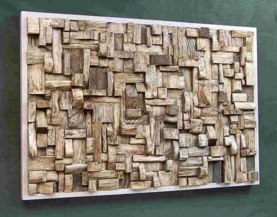 wooden art, contemporary wood wall art, wooden blocks panel, recycled wood art