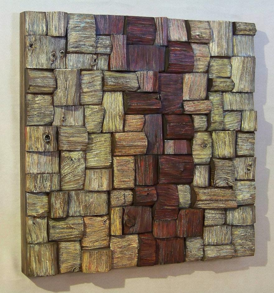 corporate art, Wood Art. Contemporary wood Wall Art. Eco Art, wooden blocks panel