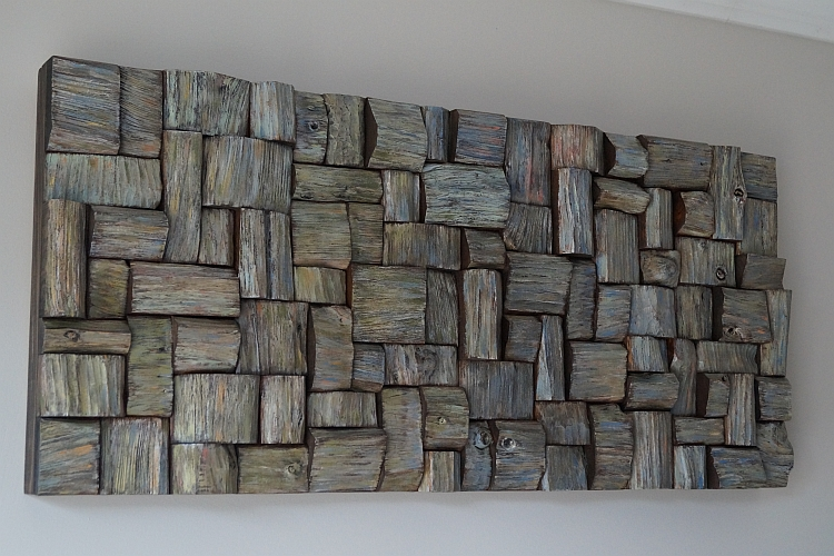 wooden blocks acoustic panel, contemporary wood wall art, recycled wood art, wall art ideas, nature inspired art