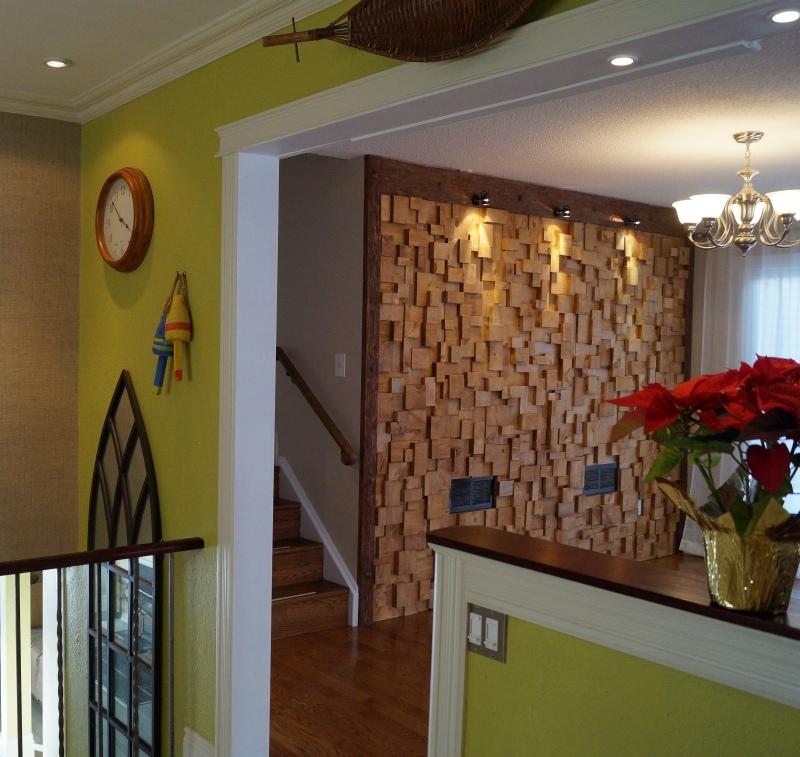 natural interior design, green interior design, nature interior decorating, nature inspired decor, sustainable interior design, nature home decor, natural interior design ideas, wooden blocks wall, acoustic wall, acoustic treatment,
