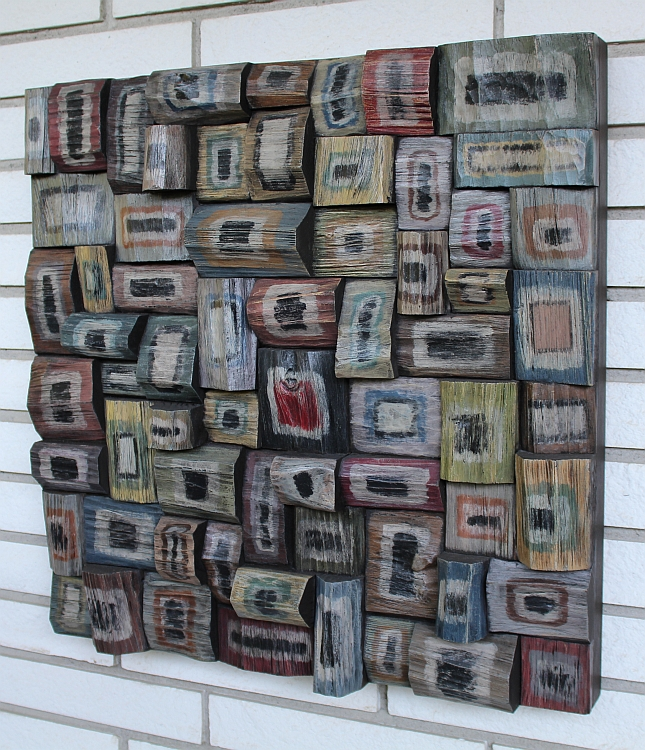 contemporary wood wall art, recycled wood art, wooden blocks acoustic panel