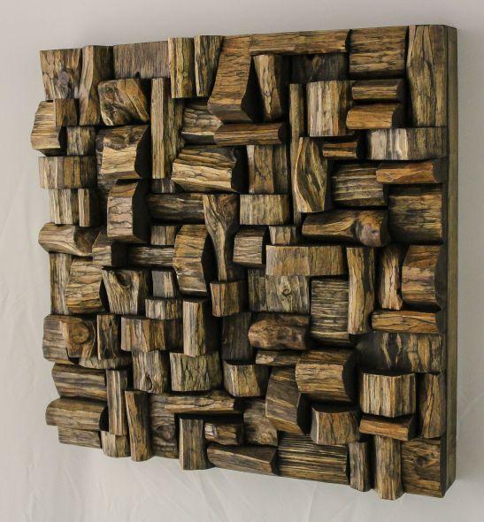 wood blocks assemblage, wood sculpture, wood mosaic, wood art, recycled wood art