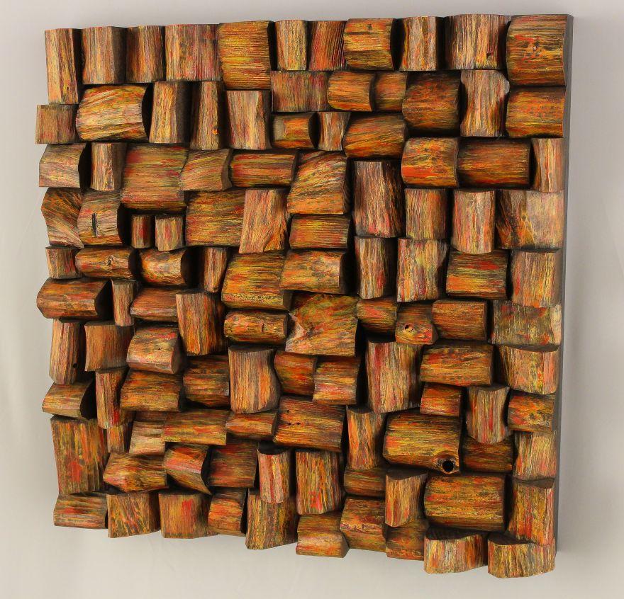 corporate art, wood wall sculpture, wooden blocks panel, wood wall art