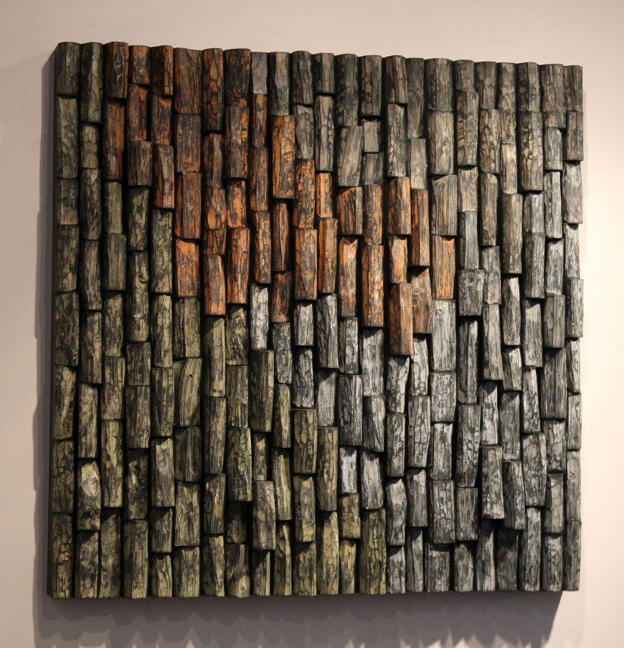 wood sound diffuser, acoustic panel, acoustic treatment, wood art