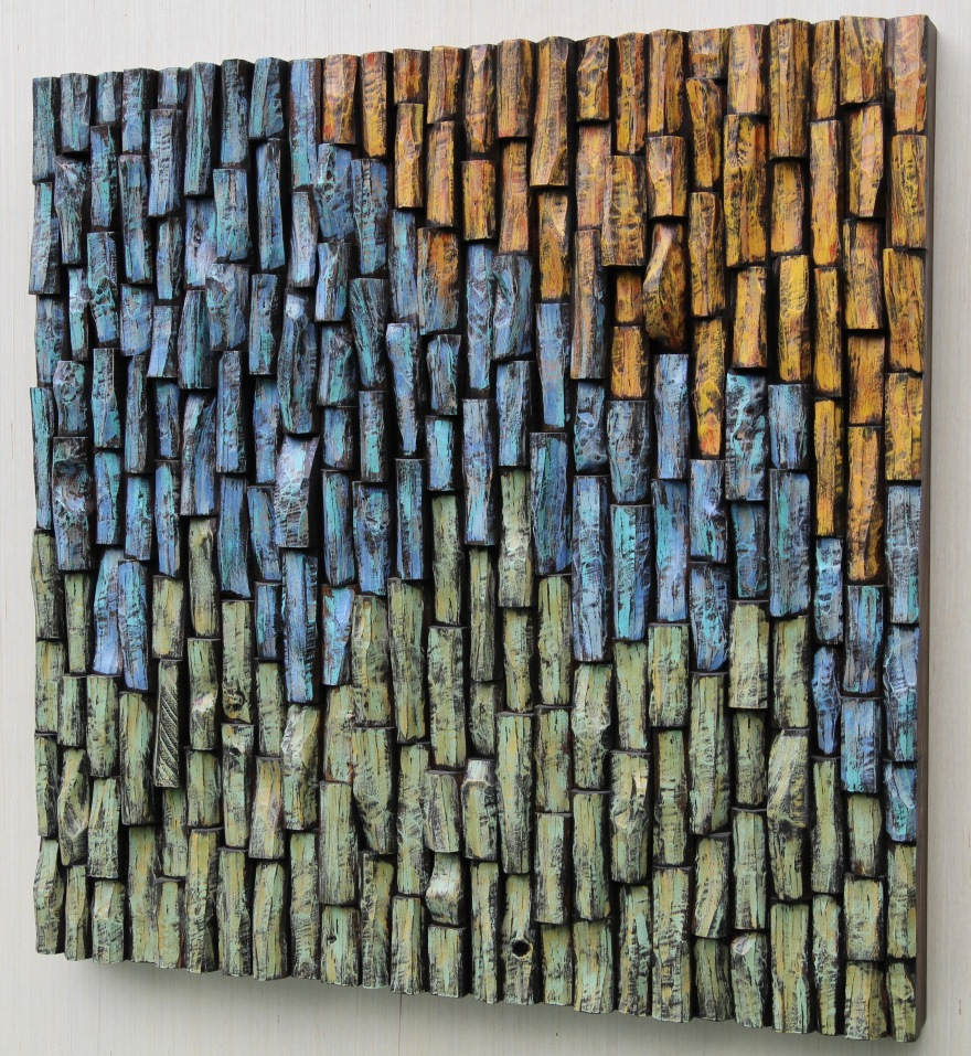 wood art, Olga Oreshyna art, wood wall sculpture, wood blocks assemblage, wall art ideas, interior design, cottage life, wood art acoustic panel, nature art, corporate art, office art, eccentricity of wood