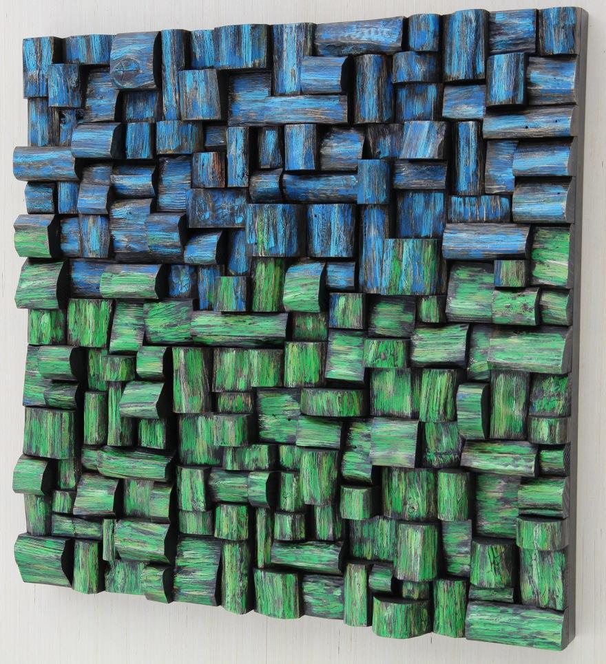 eccentricity of wood, wood wall sculpture, 3d art, wood assemblage, nature decor, interior design, cottage life, wall art ideas, acoustic treatment, TAVES2017, Axpona, Artexpo NY, art diffusive panel, home theatre acoustic