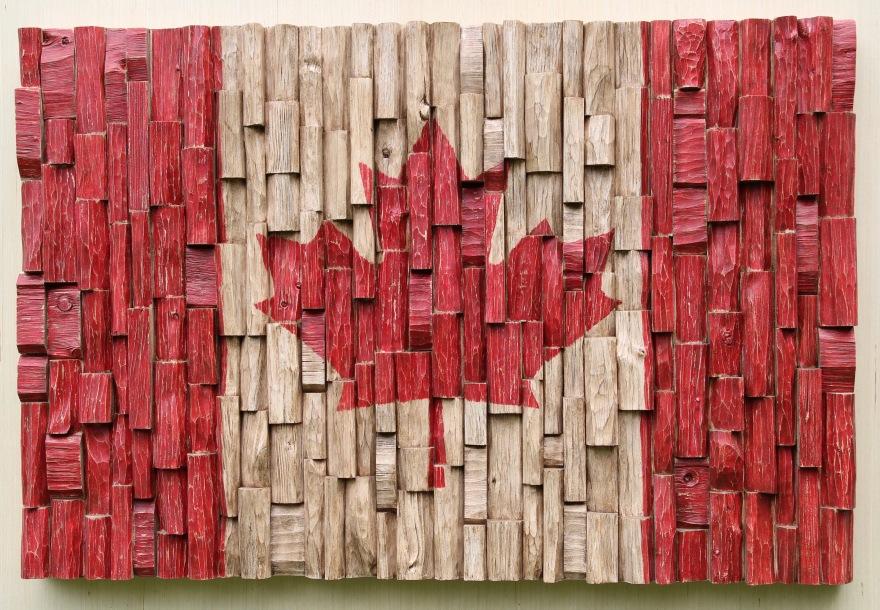 Canada 150, Canadian Flag recycled wood art, 3d Canadian Flag, Canadian Flag Canadian Artist, Canadian Flag wood art