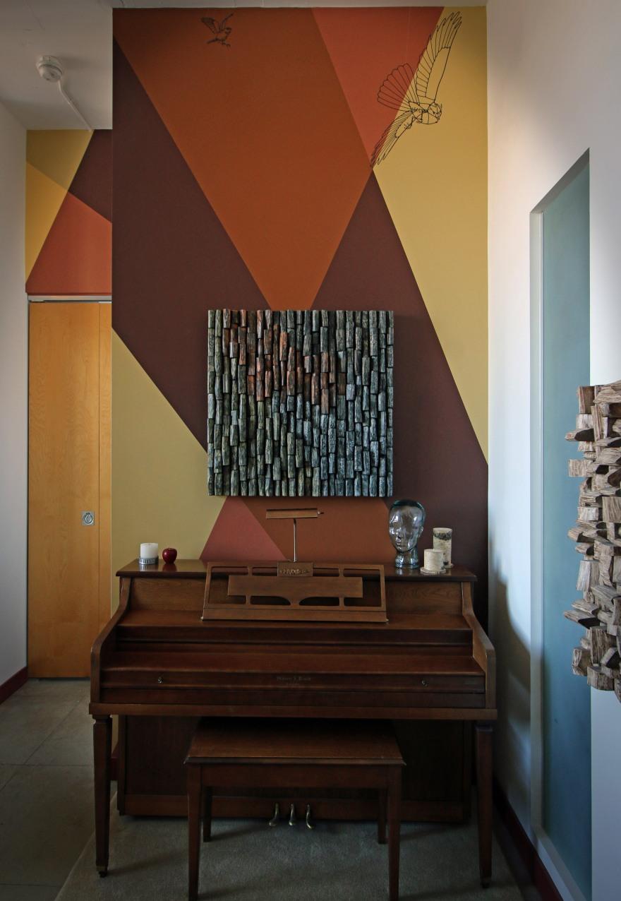 custom artwork, music room, contemporary wall art, interior design ideas, wood art, eccentricity of wood, wood blocks design, 3d art, textured wall art