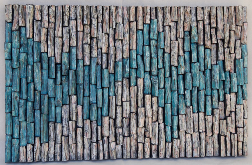 contemporary art, custom wall art, eccentricity of wood, painting on wood, wood blocks assemblage, wood interior design, corporate art, zen art, 3d art, Olga Oreshyna art, natural decor,